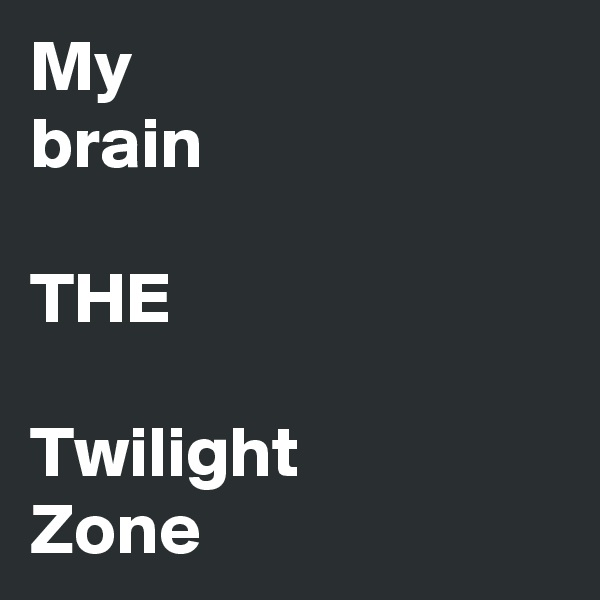 My brain  THE  Twilight Zone