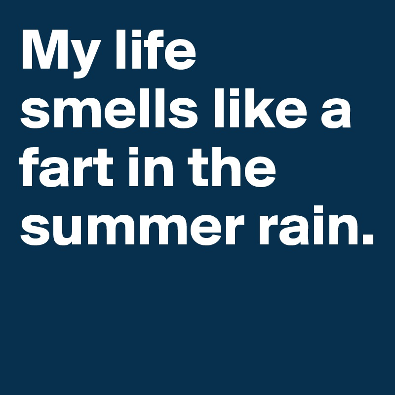 My life smells like a fart in the summer rain.