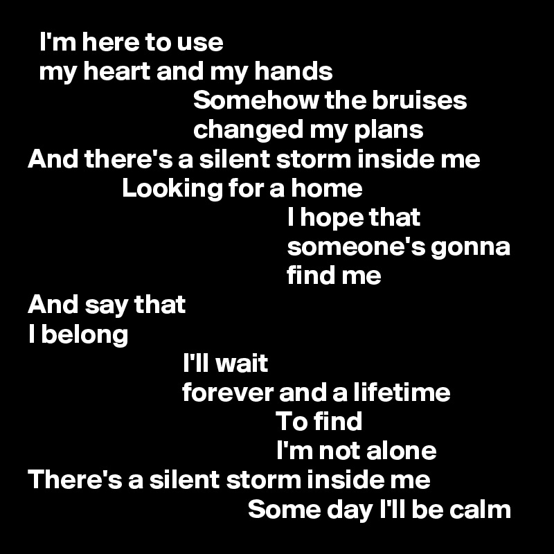 I'm here to use   my heart and my hands                               Somehow the bruises                               changed my plans And there's a silent storm inside me                  Looking for a home                                                I hope that                                                someone's gonna                                                find me And say that I belong                             I'll wait                             forever and a lifetime                                              To find                                              I'm not alone There's a silent storm inside me                                         Some day I'll be calm