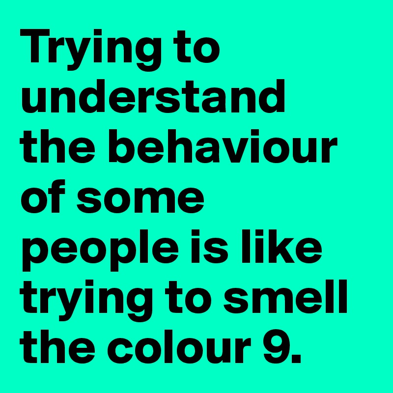 Trying to understand the behaviour of some people is like trying to smell the colour 9.