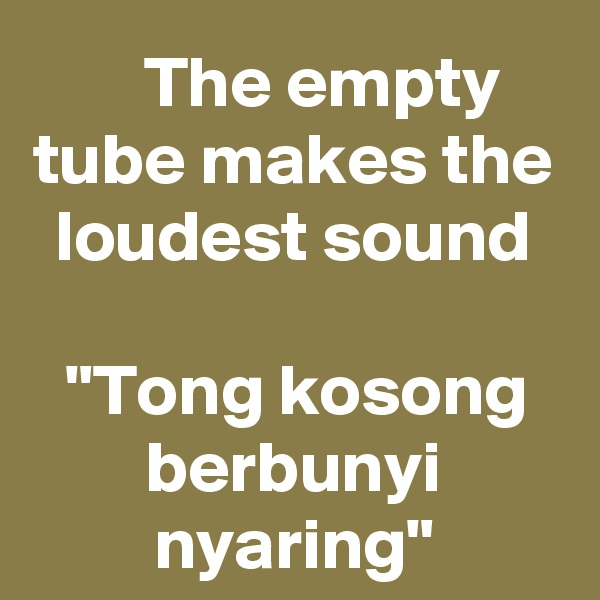 "The empty tube makes the loudest sound  ""Tong kosong berbunyi nyaring"""