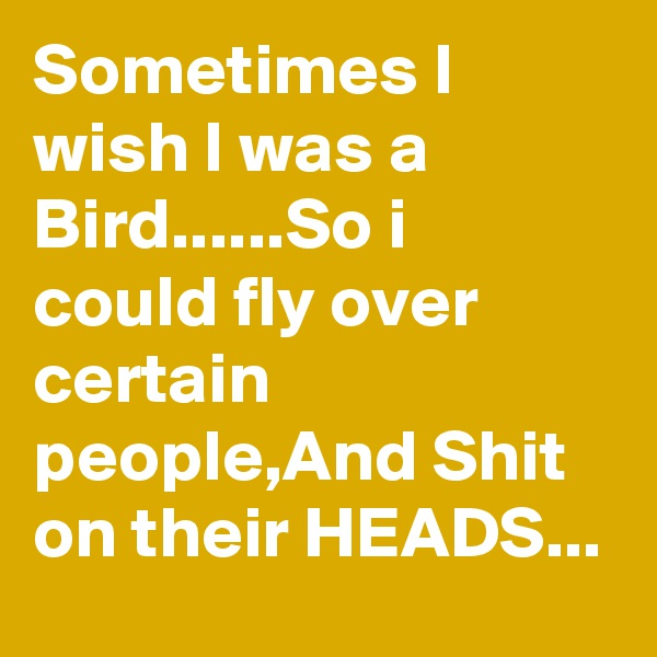 Sometimes I wish I was a Bird......So i could fly over certain people,And Shit on their HEADS...
