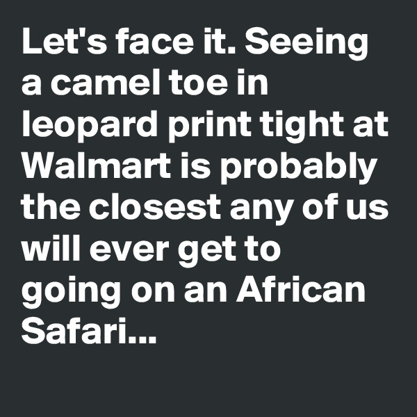 Let's face it. Seeing a camel toe in leopard print tight at Walmart is probably the closest any of us will ever get to going on an African Safari...