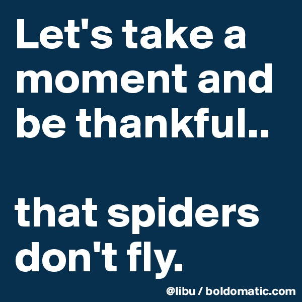 Let's take a moment and be thankful..  that spiders don't fly.