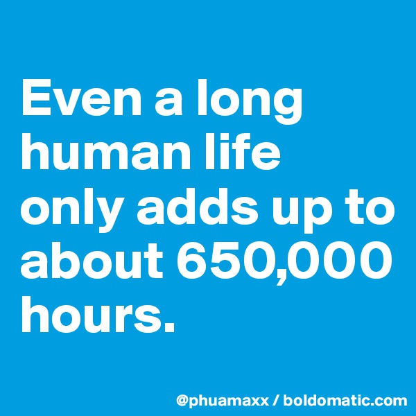 Even a long human life only adds up to about 650,000 hours.