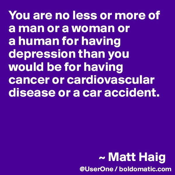 You are no less or more of a man or a woman or  a human for having depression than you would be for having cancer or cardiovascular disease or a car accident.                                        ~ Matt Haig