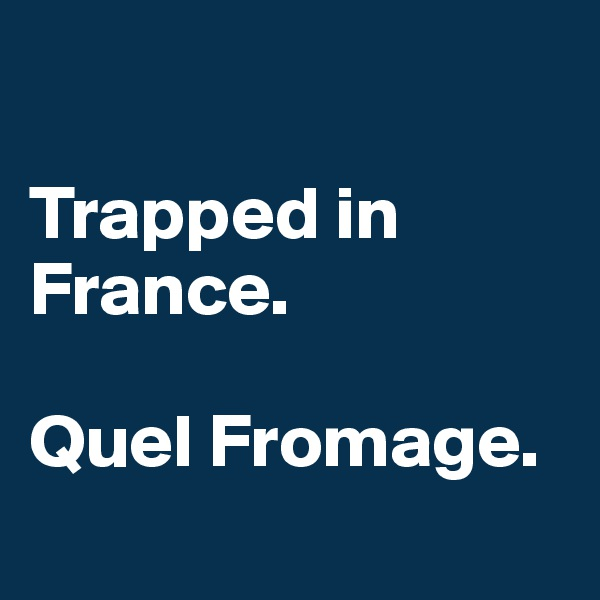 Trapped in France.  Quel Fromage.
