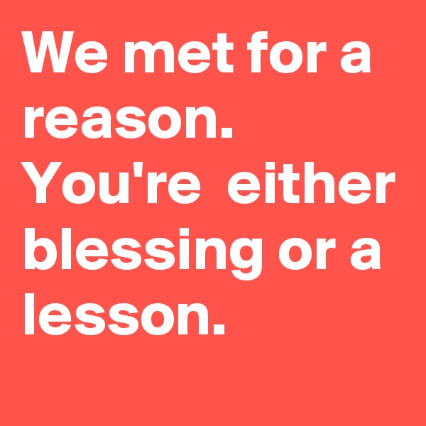 We met for a reason. You're  either blessing or a lesson.