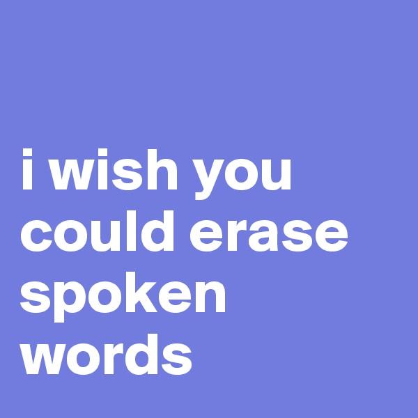 i wish you could erase spoken words