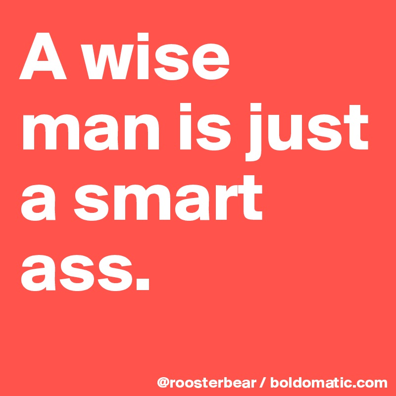 A wise man is just a smart ass.