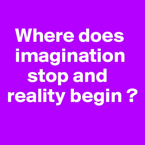 Where does      imagination       stop and reality begin ?