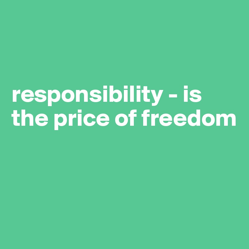 responsibility - is the price of freedom