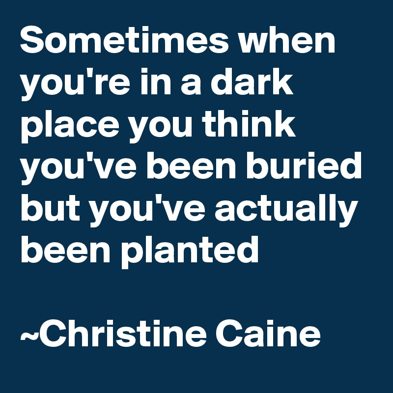 Sometimes when you're in a dark place you think you've been buried but you've actually been planted  ~Christine Caine