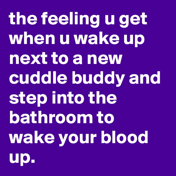the feeling u get when u wake up next to a new cuddle buddy and step into the bathroom to wake your blood up.