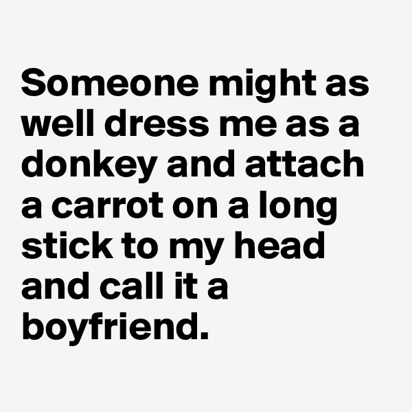 Someone might as well dress me as a donkey and attach a carrot on a long stick to my head and call it a boyfriend.
