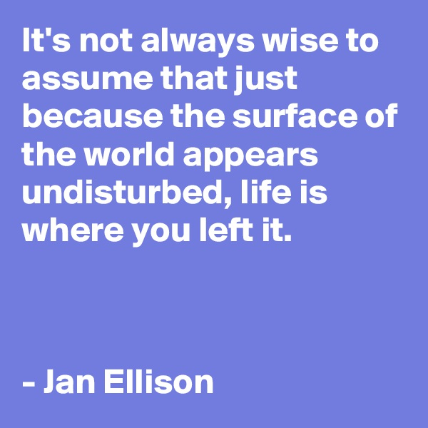 It's not always wise to assume that just because the surface of the world appears undisturbed, life is where you left it.    - Jan Ellison