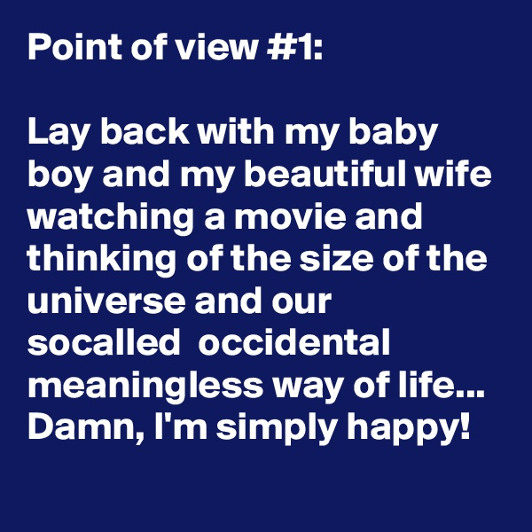 Point of view #1:  Lay back with my baby boy and my beautiful wife watching a movie and thinking of the size of the universe and our socalled  occidental meaningless way of life... Damn, I'm simply happy!