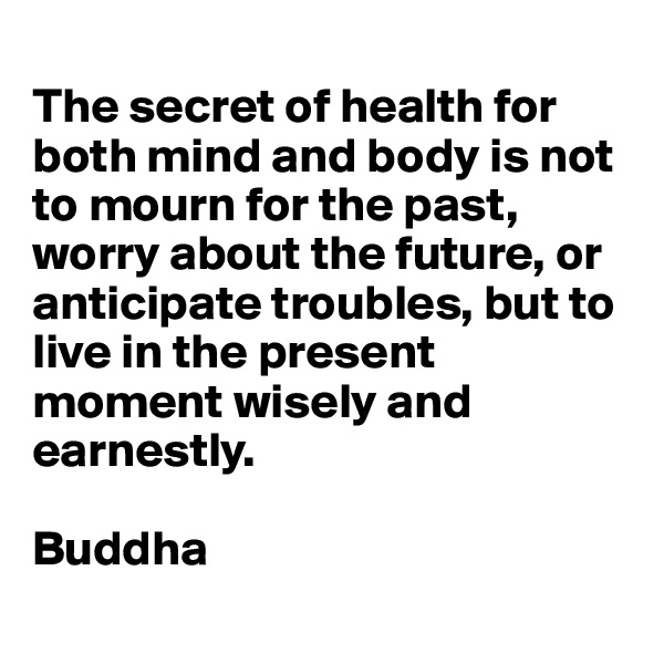 The secret of health for both mind and body is not to mourn for the past, worry about the future, or anticipate troubles, but to live in the present moment wisely and earnestly.  Buddha