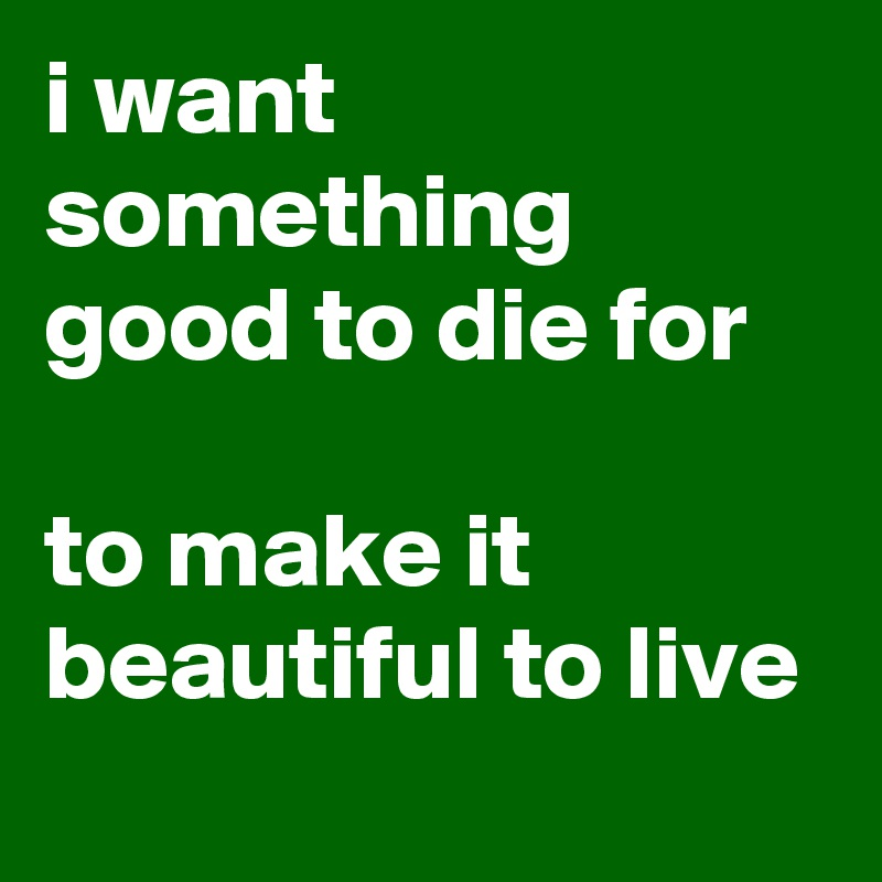 i want something good to die for  to make it beautiful to live