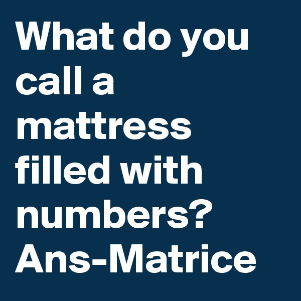 What do you call a mattress filled with numbers? Ans-Matrice