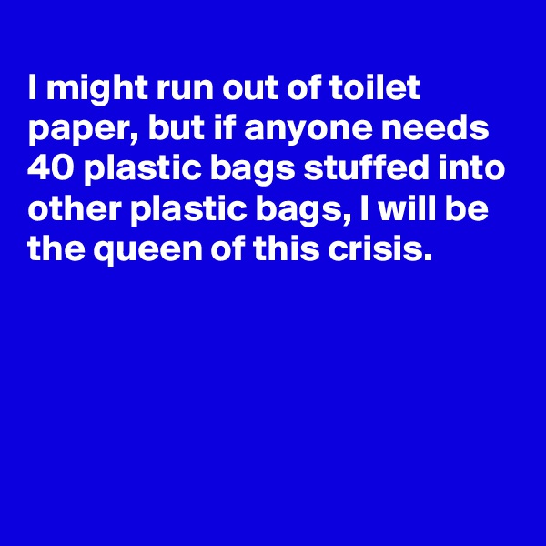 I might run out of toilet paper, but if anyone needs 40 plastic bags stuffed into other plastic bags, I will be the queen of this crisis.