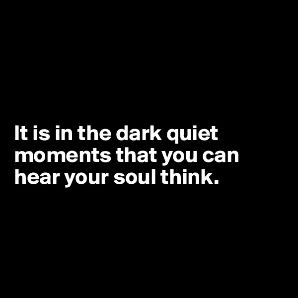 It is in the dark quiet moments that you can hear your soul think.