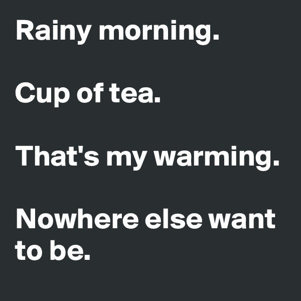 Rainy morning.  Cup of tea.  That's my warming.  Nowhere else want to be.