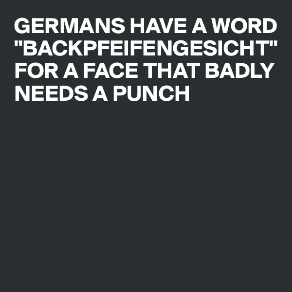 "GERMANS HAVE A WORD ""BACKPFEIFENGESICHT"" FOR A FACE THAT BADLY NEEDS A PUNCH"