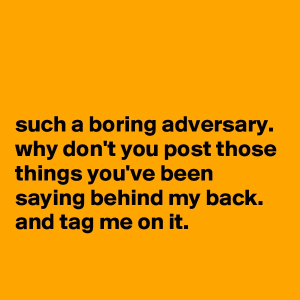 such a boring adversary. why don't you post those things you've been saying behind my back. and tag me on it.