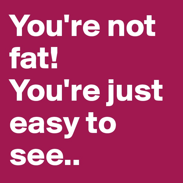 You're not fat! You're just easy to see..