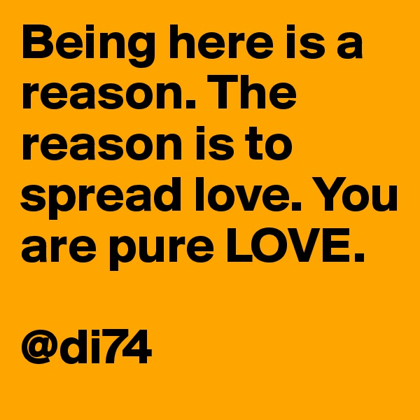 Being here is a reason. The reason is to spread love. You are pure LOVE.   @di74