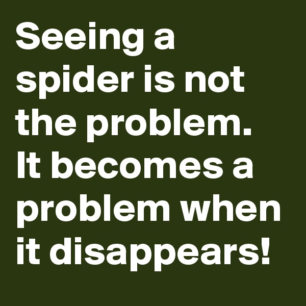 Seeing a spider is not the problem. It becomes a problem when it disappears!