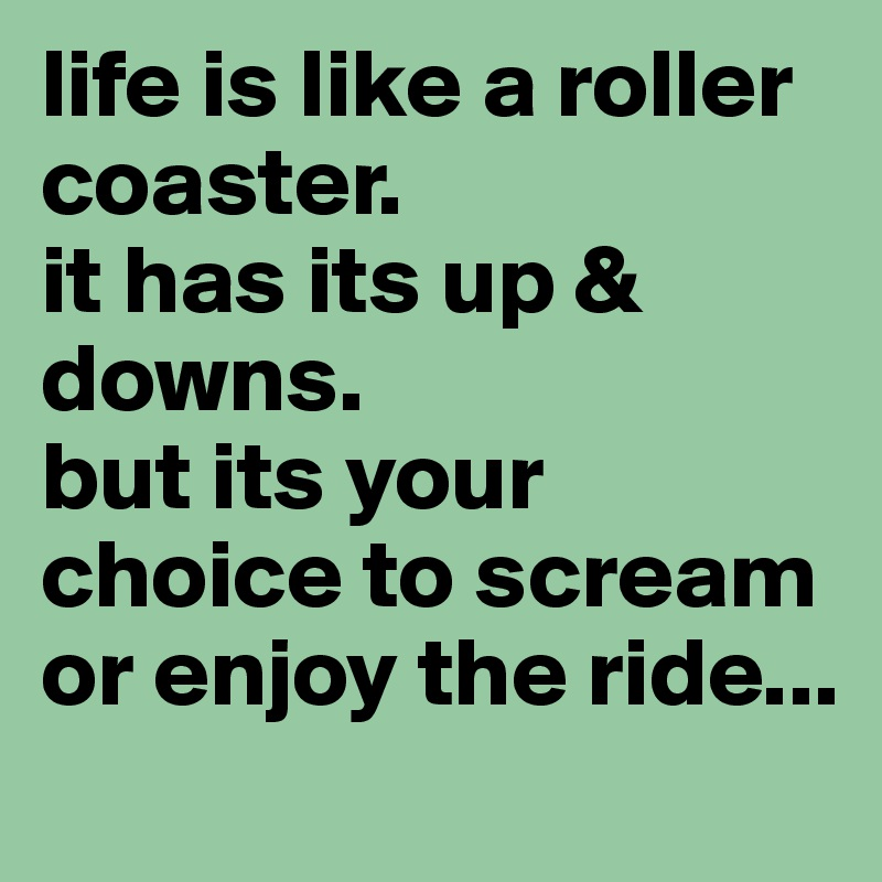 life is like a roller coaster. it has its up & downs. but its your choice to scream or enjoy the ride...