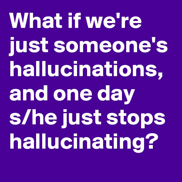 What if we're just someone's hallucinations, and one day s/he just stops hallucinating?