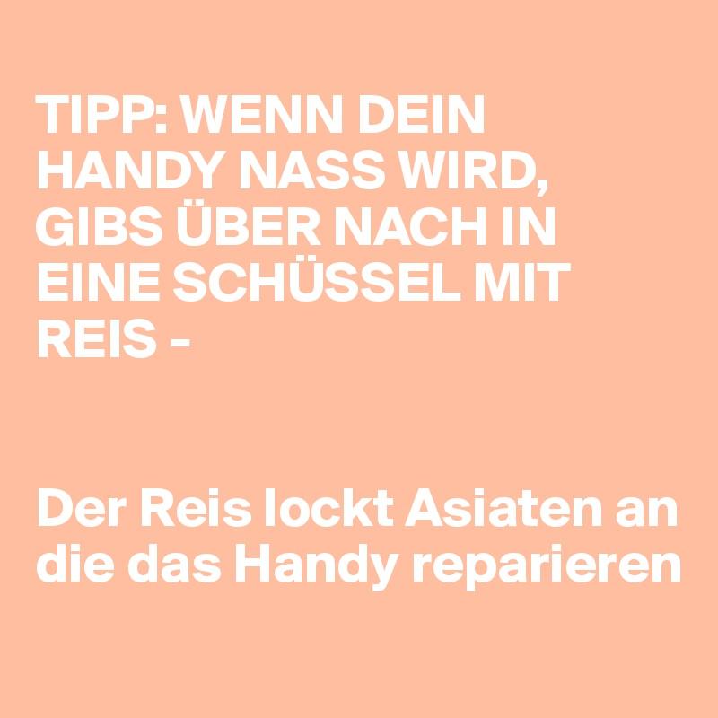 TIPP: WENN DEIN HANDY NASS WIRD, GIBS ÜBER NACH IN EINE SCHÜSSEL MIT REIS -    Der Reis lockt Asiaten an die das Handy reparieren