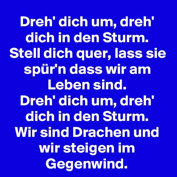 Dreh' dich um, dreh' dich in den Sturm. Stell dich quer, lass sie spür'n dass wir am Leben sind. Dreh' dich um, dreh' dich in den Sturm. Wir sind Drachen und wir steigen im Gegenwind.