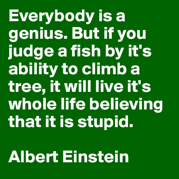 Everybody is a genius. But if you judge a fish by it's ability to climb a tree, it will live it's whole life believing that it is stupid.  Albert Einstein