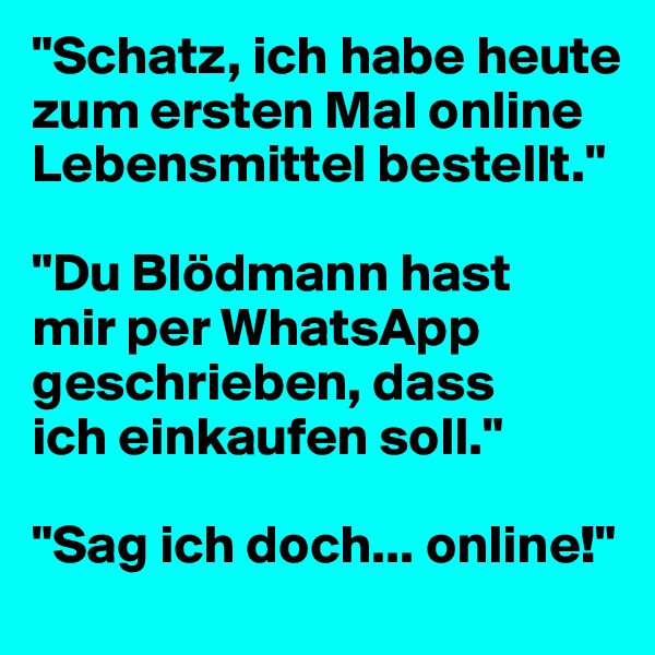 """""""Schatz, ich habe heute zum ersten Mal online Lebensmittel bestellt.""""  """"Du Blödmann hast  mir per WhatsApp geschrieben, dass  ich einkaufen soll.""""  """"Sag ich doch... online!"""""""