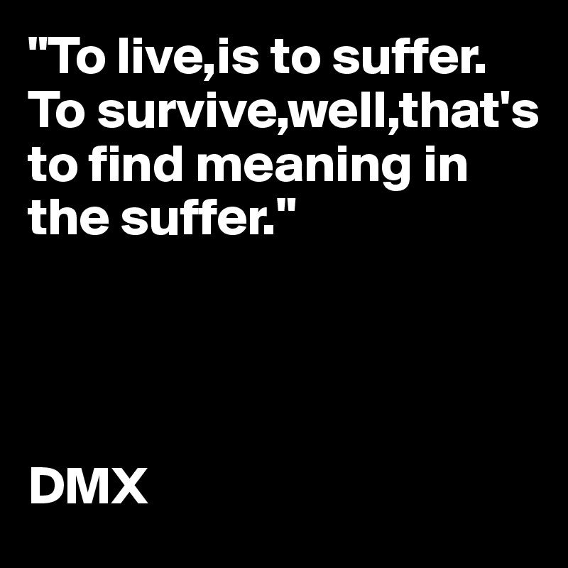 """""""To live,is to suffer. To survive,well,that's to find meaning in the suffer.""""     DMX"""