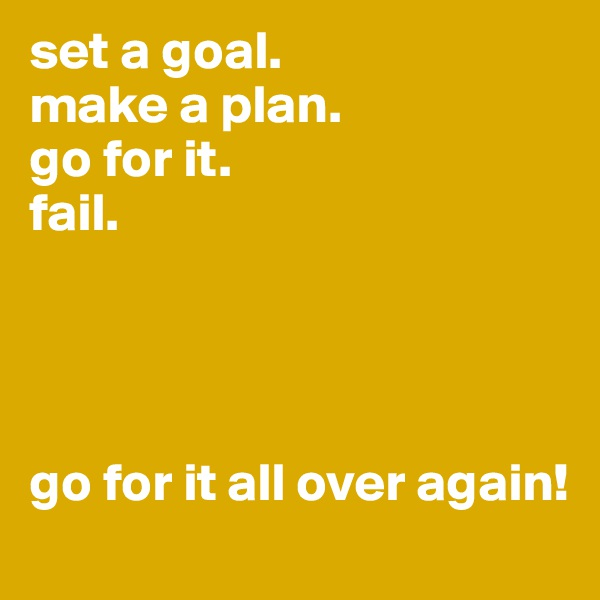 set a goal. make a plan. go for it. fail.     go for it all over again!