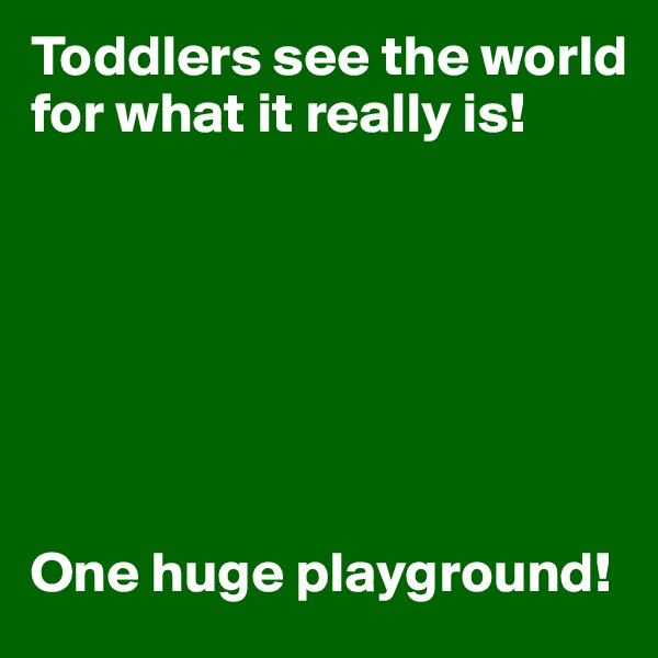Toddlers see the world for what it really is!         One huge playground!