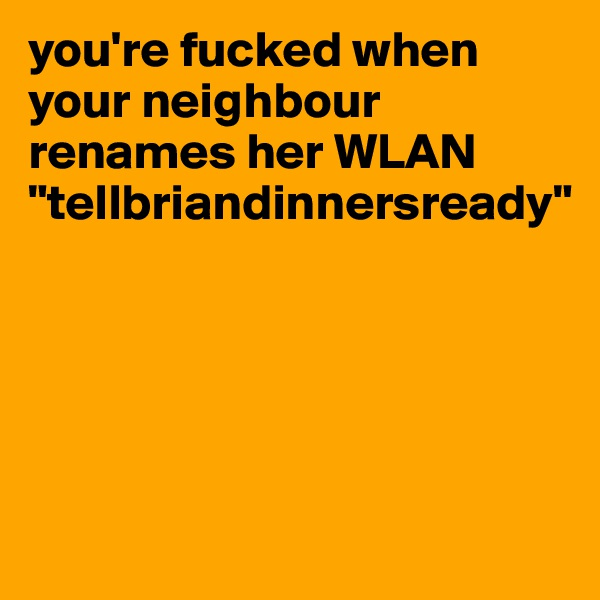 """you're fucked when your neighbour renames her WLAN """"tellbriandinnersready"""""""