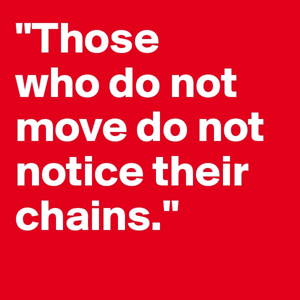 """Those  who do not move do not notice their chains."""