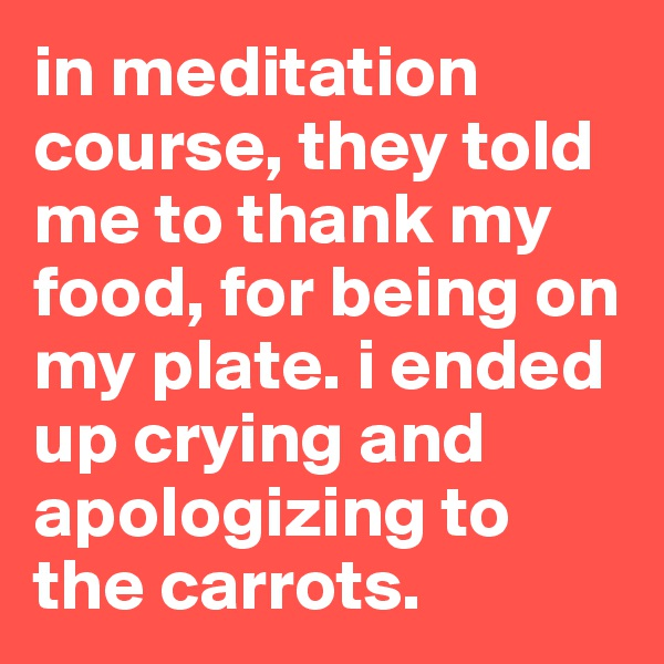 in meditation course, they told me to thank my food, for being on my plate. i ended up crying and apologizing to the carrots.