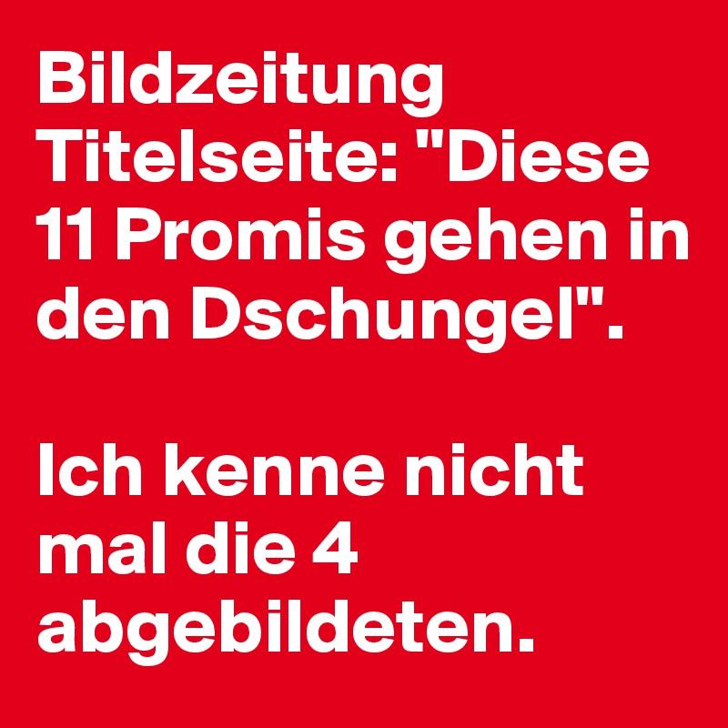 """Bildzeitung Titelseite: """"Diese 11 Promis gehen in den Dschungel"""".   Ich kenne nicht mal die 4 abgebildeten."""