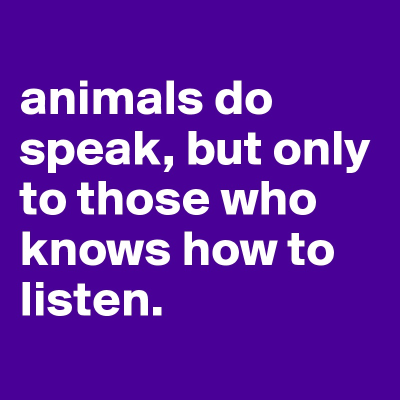 animals do speak, but only to those who knows how to listen.