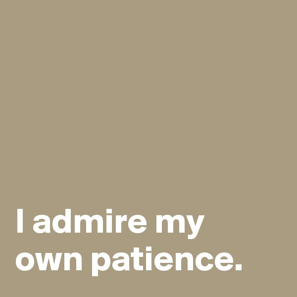 I admire my own patience.