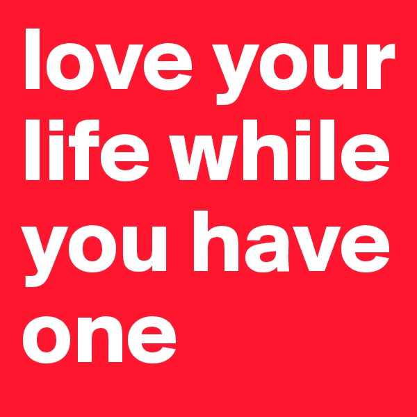 love your life while you have one