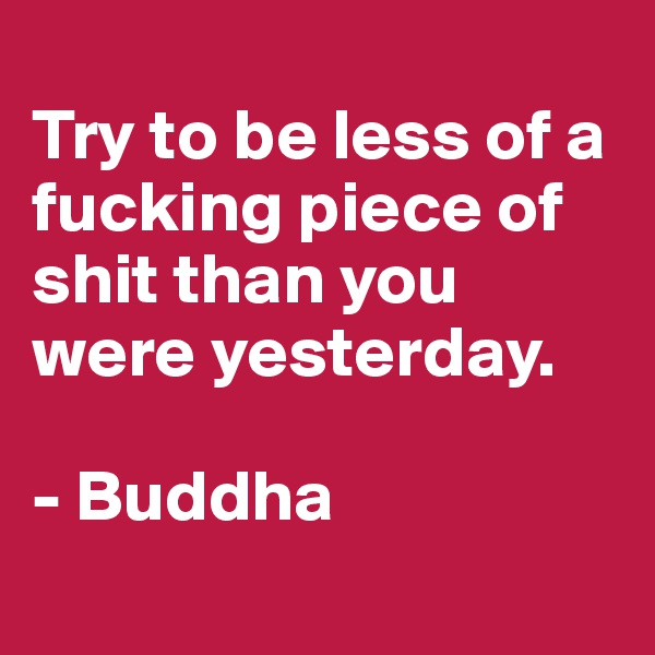 Try to be less of a fucking piece of shit than you were yesterday.  - Buddha