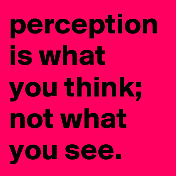 perception is what you think; not what you see.